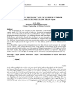 Electrolytic Preparation of Copper Powder