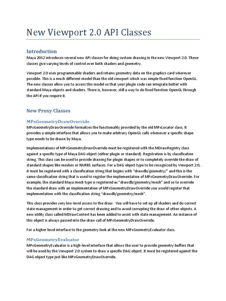 Viewport 2 0 API | Shader | Class (Computer Programming)