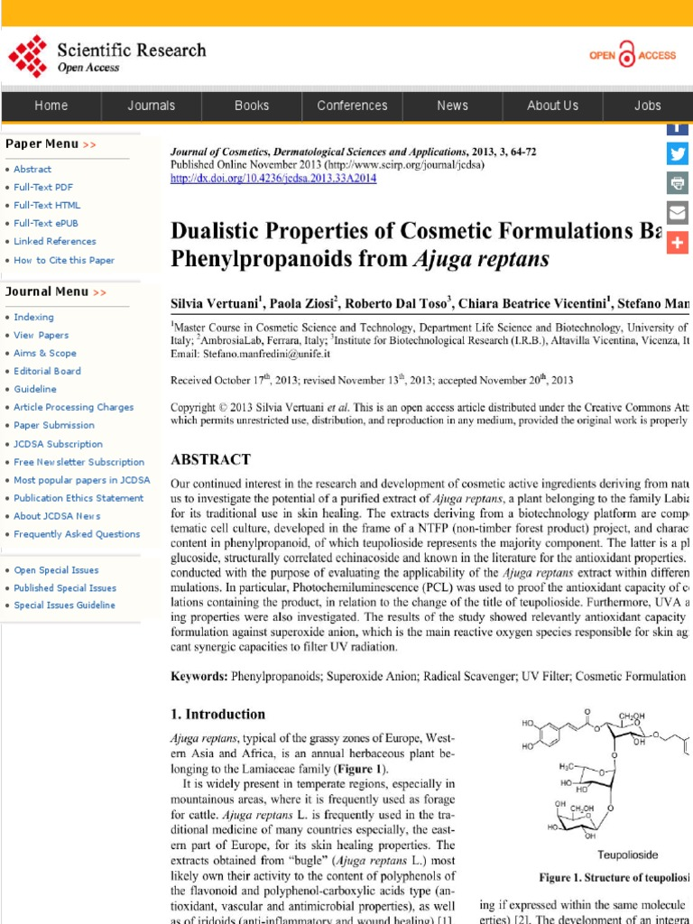 Dualistic Properties Of Cosmetic Formulations Based On
