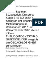 Sozialgericht Duisburg - Herr Dr. Zitzen - 21. Hartung 2018 .