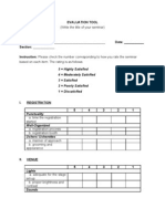 Sample Seminar Evaluation Tool