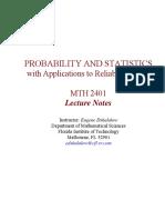 Probability & Statistics MTH 2401 STV V54