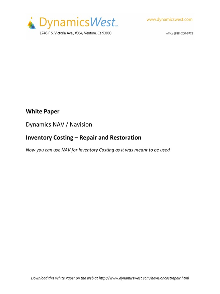 Dynamics NAV Inventory Cost Restoration Whitepaper