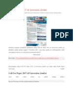 Call for Paper 2017 Di Universitas Jember