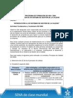 ACTIVIDAD PROGRAMA DE FORMACIÓN ISO 9001