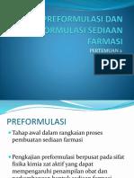 Preformulasi Dan Formulasi Sediaan Farmasi