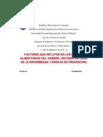 DeterminaNtes de La Alimentación, Historia Natural de La Enfermedad y Niveles de Prevención