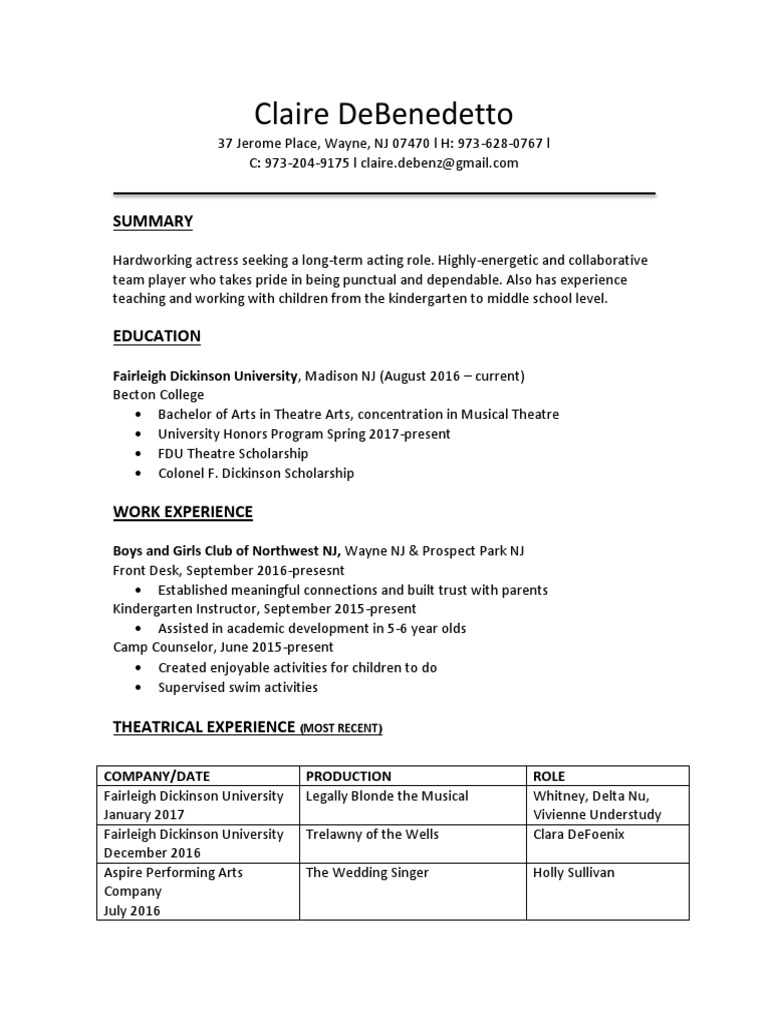 Updated Resume | Performing Arts | Entertainment