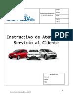 Instructivo de Atención y Servicio Al Cliente Formato