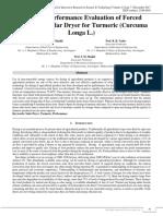 Study on Performance Evaluation of Forced Convection Solar Dryer for Turmeric (Curcuma Longa L.)