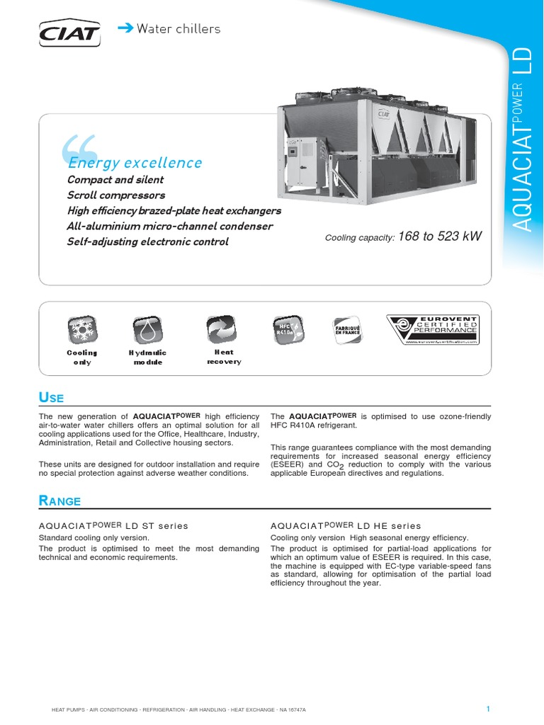 ciat chiller aquaciatpower ld information manual heat pump air rh scribd com