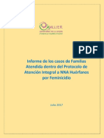 Informe de Los Casos de Familias Atendida Dentro Del Protocolo de Atencin Integral a NNA Hurfanos Por Feminicidio 21 de Julio 2017 2 2