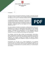 Carta de Roger Torrent a Mariano Rajoy