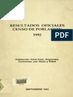 Censo de población 1992, Chile.