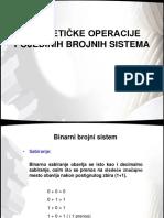 Aritmetike Operacije Pojedinih Brojnih Sistema