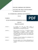 Ley de Los Sistemas Metropolitanos de Transporte