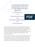 A Psycho-Educational Model for Managing Disruptive Classroom Behavior