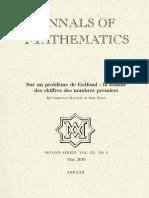 Sur un problème de Gelfond - La somme des chiffres des nombres premiers - Mauduit & Rivat