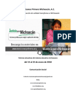 Síntesis Educativa Semanal de Michoacán del 22.01.2018