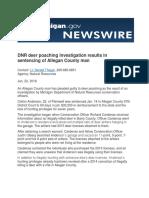 DNR deer poaching investigation results in sentencing of Allegan County man