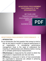 Monitoring Procurement Performance in the Organisation