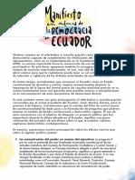 Manifiesto en defensa de la democracia en Ecuador