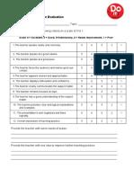 Teaching Practice -Peer Evaluation