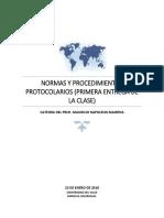 Primera Entrega de Normas y Procedimientos Protocolarios.