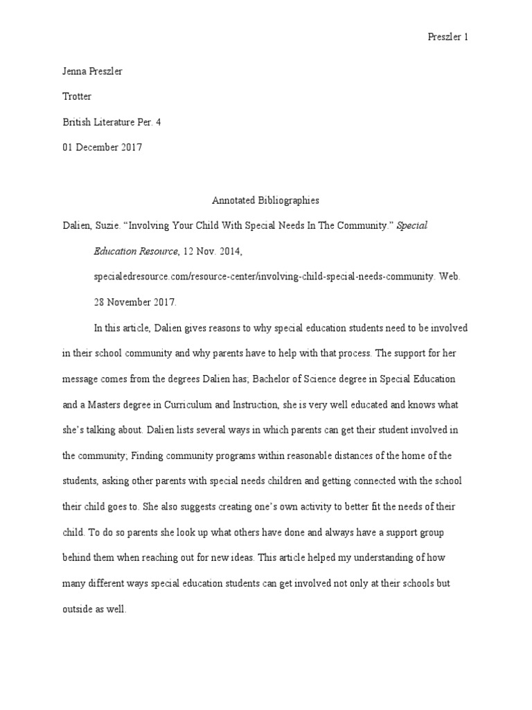 Annotated Bibliography Capstone Inclusion Education Special