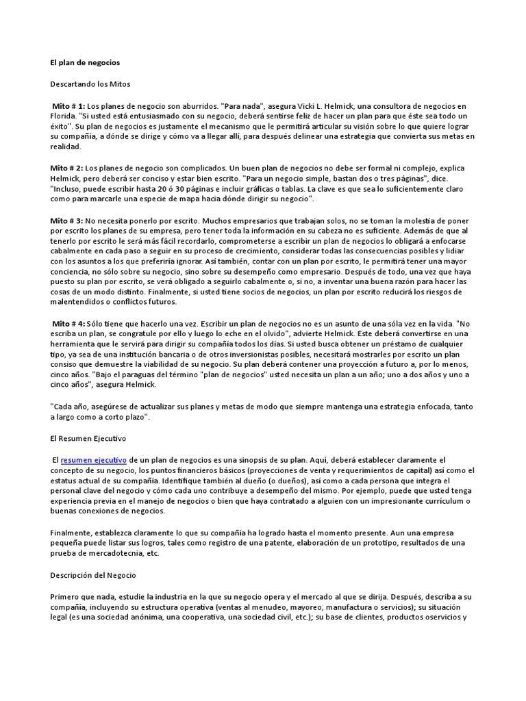 El Plan de Negocios(Web)