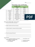Worksheet - Word Choice & Tone - Demo