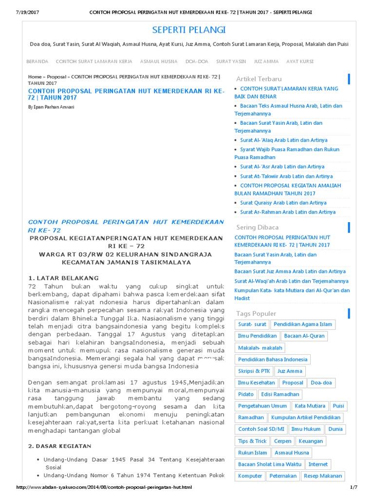 Contoh Proposal Peringatan Hut Kemerdekaan Ri Ke 72 Tahun