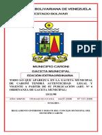 Reglamento Interior y Debate Del Concejo Municipal Del Municipio Caroni