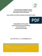 Reglamento Titulación Secundaria 2016