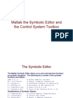 Matlab and the Control System Toolbox