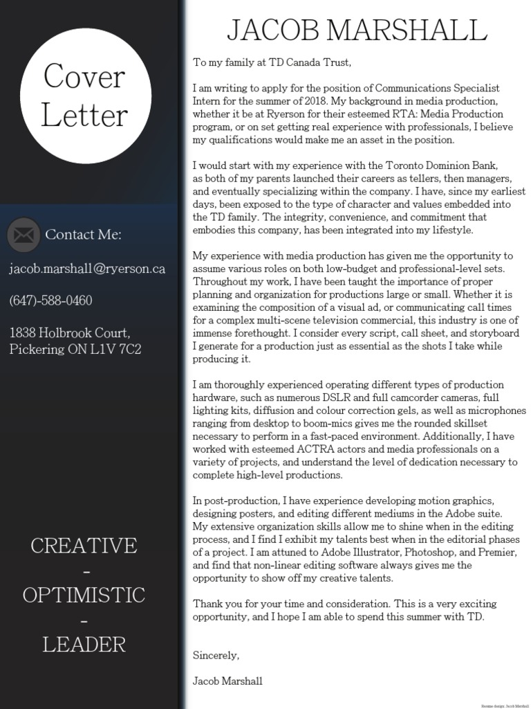 jacob marshall 2018 rta cover letter | Technology | Software