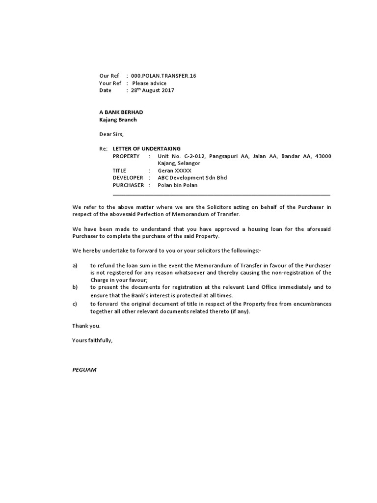 Sample letter of undertaking to bank and confirmation to loan sample letter of undertaking to bank and confirmation to loan solicitors common law virtue spiritdancerdesigns Gallery
