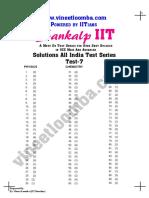 IIT JEE Main Test Series Test 7 Solutions