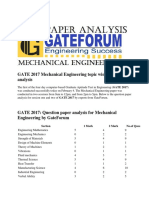 GATE 2017 Mechanical Engineering Topic Wise Exam Analysis
