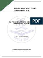 Moot Problem & Regulations 2018 T. S. VENKATESWARA IYER MEMORIAL