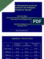 Mainstreaming Population Management in the Philippine Development Agenda – Dr Dennis Mapa, UP School of Statistics