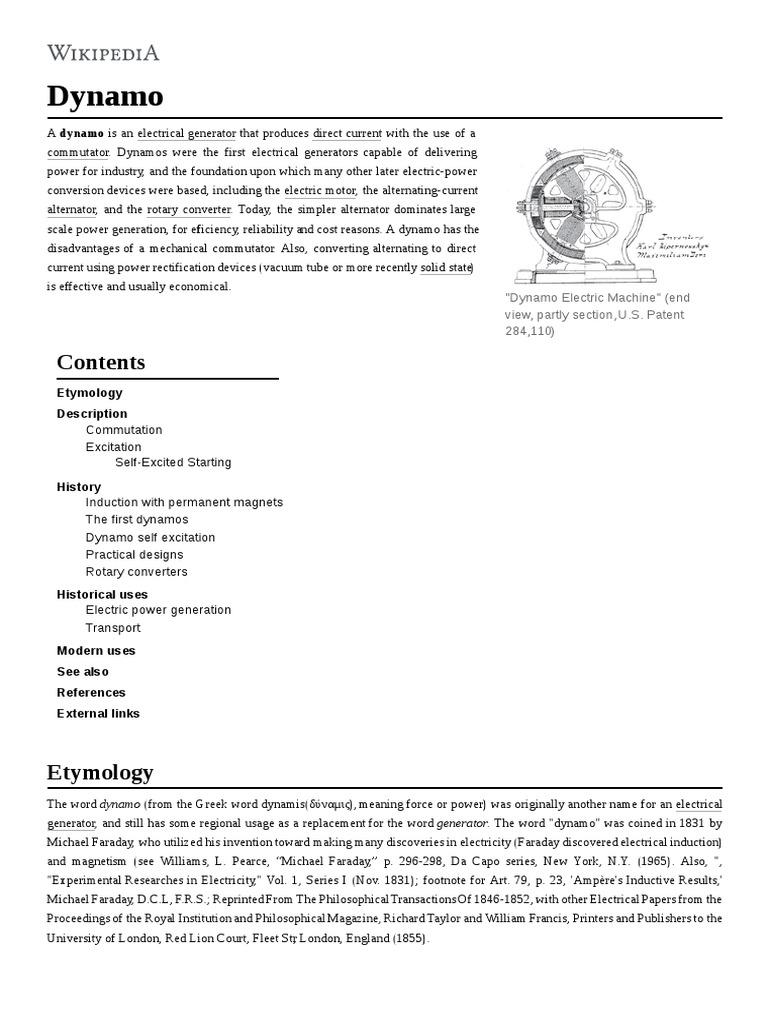 Dynamo | Electric Generator | Components