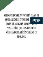 ANUNT PLATA TAXA SCOLARIZARE.doc