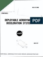 NASA - sp8066 - Space Vehicle Design Criteria - Deployable Aerodynamic Deceleration Systems.pdf