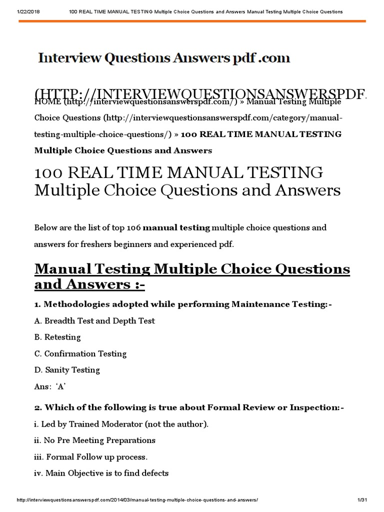 REAL TIME MANUAL TESTING MCQ | Software Testing | C (Programming Language)