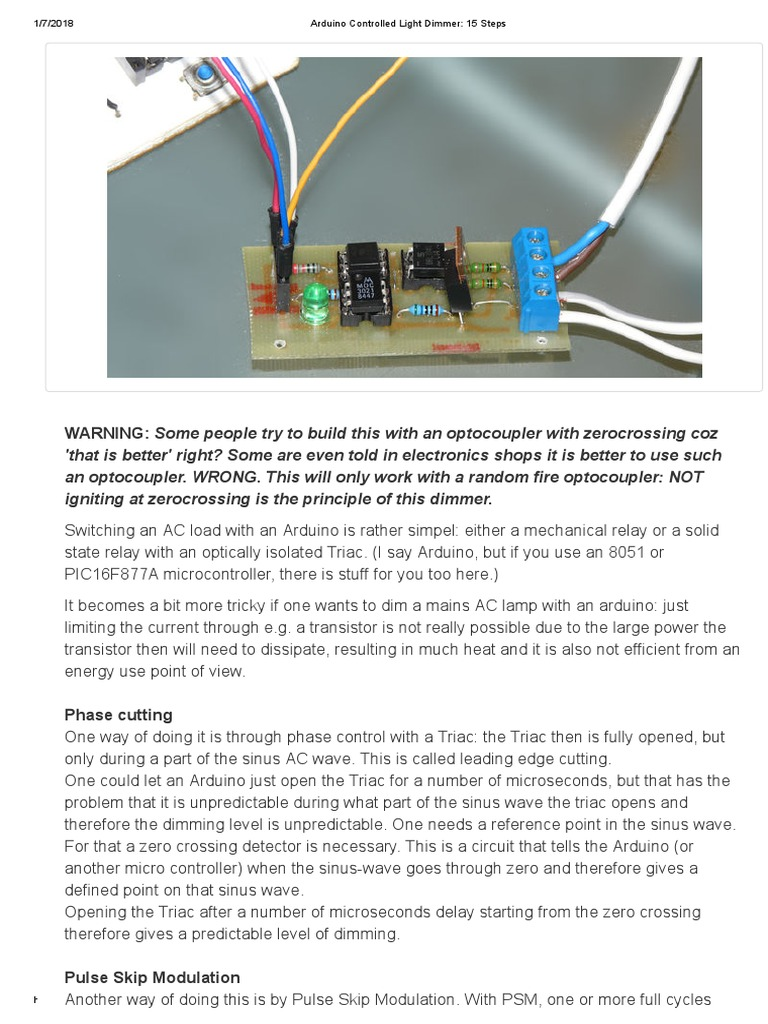 Arduino Controlled Light Dimmer 15 Steps Rectifier Mosfet Triac Triggering Circuit Using Diac Here In This The