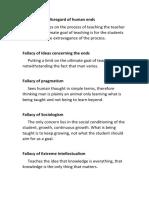 A brief Summary of Fallacies