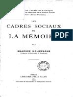 Halbwachs, M. Les Cadres Sociaux de La Mémoire.