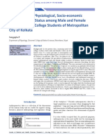 Comparing the Physiological, Socio‑economic and Nutritional Status among Male and Female Undergraduate College Students of Metropolitan City of Kolkata