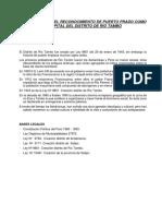 Proyecto Para Reconocimiento de Puerto Prado Como Capital Del Distrito de Rio Tambo